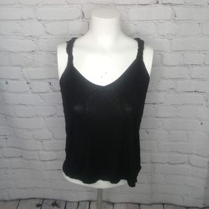 Ambiance Apperal Black Scoop Neck Tank Sz S